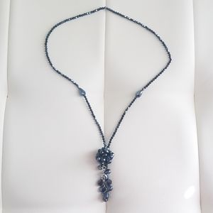 Royal Blue Iridescent Tassle Y Long Necklace